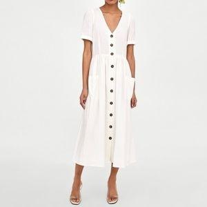 ZARA Linen Button Front Midi Dress Blogger Fav